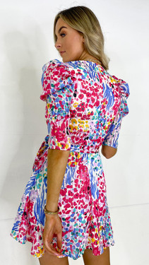 Get That Trend Girl In Mind Wrap Neck Dress in Multi Print