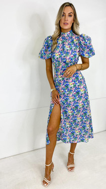 Get That Trend Girl In Mind Puff Sleeve Midi Dress in Blue and Yellow Floral