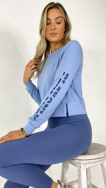 Get That Trend Only Play Round Neck Sweatshirt in Forever Blue