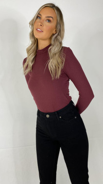 Get That Trend Pieces Red Mahogany Long Sleeve Mock Neck