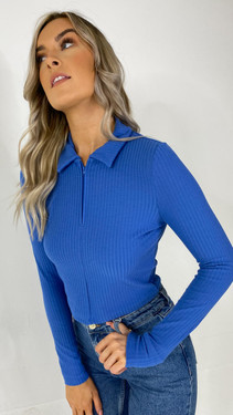 Get That Trend Only Blue Half Zip Polo Top