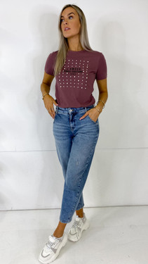 Get That Trend Only Rose Brown Pearl Slogan Tee