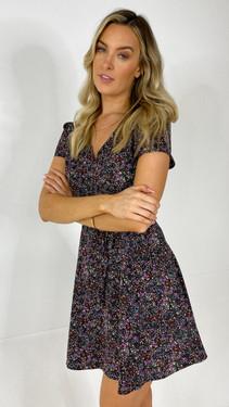 Get That Trend Ivy Lane Multi Print V-Neck Mini Dress