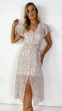 Get That Trend Ivy Lane Button Down Ditsy Floral Print Midi Dress