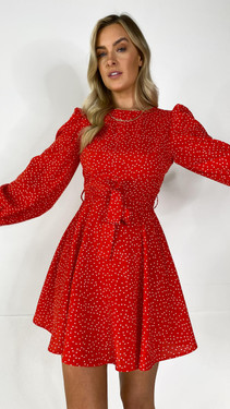 Get That Trend Ivy Lane Red Polka Dot Print Fit and Flare Mini Dress