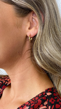 Get That Trend Pieces Crossover Gold Hoop Earrings