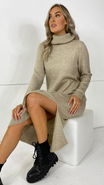Only Pumice Stone Roll Neck Knit Dress