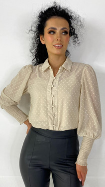 Only Cream Button Down Dotted Shirt