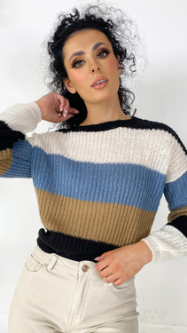 JDY Blue Striped Knitted Pullover