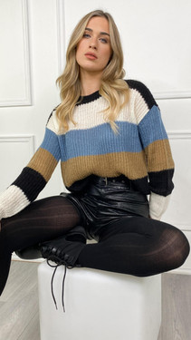 Get That Trend JDY Blue Striped Knitted Pullover