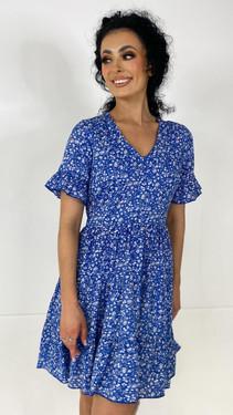 Ivy Lane Blue Floral Tiered Mini Dress