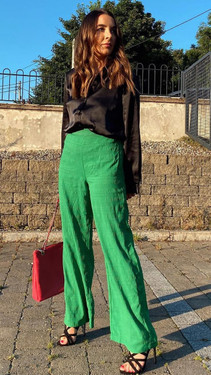 Get That Trend Pieces Classic Green High Waisted Wide Trousers