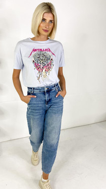 Get That Trend Only Life Baby Blue Metallica Graphic Tee