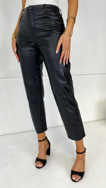 Get That Trend Noisy May Black Mock Croc Trousers
