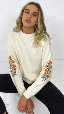 Get That Trend Pieces Cream Relaxed Embroidered Sweatshirt