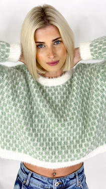 Get That Trend Only Life Mint Detailed Cropped Knit Pullover