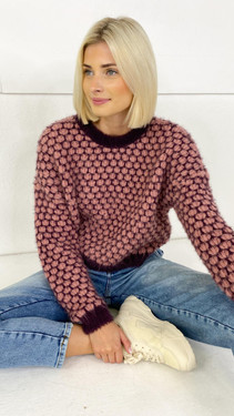 Get That Trend Only Life Purple Detailed Cropped Knit Pullover
