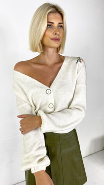 Get That Trend Only Embroidered Off-White Cardigan
