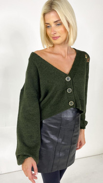 Get That Trend Only Embroidered Khaki Cardigan