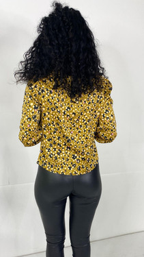 Get That Trend Pieces Mustard Printed Button Down Top