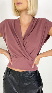 Get That Trend Only Life Rose Brown Wrap Top