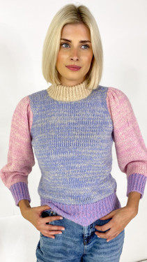 Get That Trend Pieces High Neck Colourblock Knitted Pullover