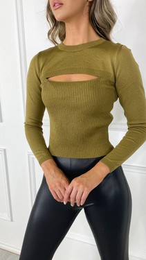 Get That Trend Only Chest Detail Long Sleeve Bronze Top