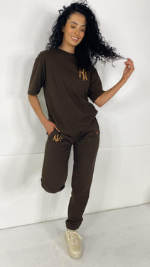 Get That Trend New Era Brown Relaxed Joggers