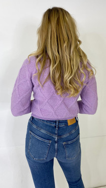 Get That Trend Only Life Lilac Round Neck Knit Pullover