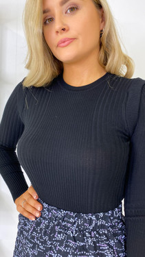 Get That Trend Only Black Ribbed Long Sleeve Top