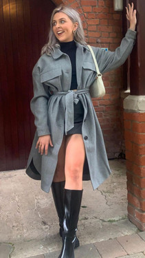 Get That Trend Only Grey Longline Belted Shacket