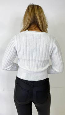 Get That Trend Pieces White Knitted Cardigan