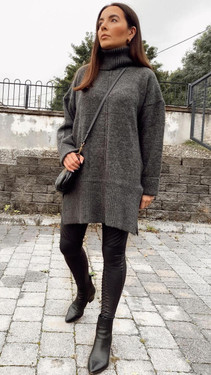 Get That Trend Only Dark Grey Roll Neck Knitted Pullover