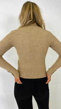 Get That Trend Only Sand Textured Roll Neck Knitted Pullover
