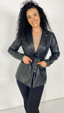 Get That Trend Only Black Faux Leather Blazer