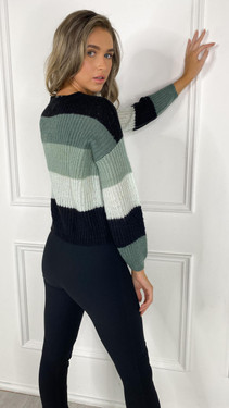 Get That Trend JDY Green Stripe Knitted Pullover