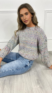 Get That Trend Only White Multi Colour Knitted Pullover