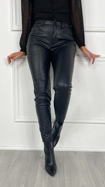 Get That Trend Noisy May Leather High Waisted Trousers