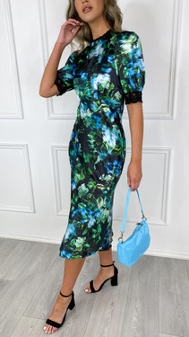 Get That Trend Hope and Ivy Satin Floral High Neck Midi Dress