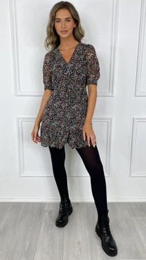 Get That Trend Ivy Lane Black Frill Hem Floral Button Down Mini Dress