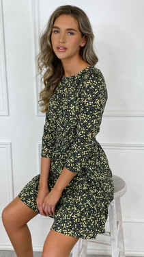 Get That Trend Ivy Lane Black and Yellow Floral Tiered Mini Dress