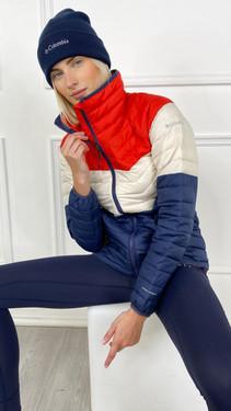Get That Trend Columbia Womenss Powder Lite Blocked Jacket in Bold Orange/Chalk/Nocturnal