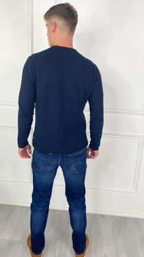 Get That Trend Produkt Mens Basic Knit Crew Neck Sweater In Navy
