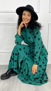 Get That Trend Sugarhill Sarah Tiered Shirt Dress In Green Floral Dash