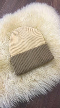 Get That Trend Pieces Cream And Brown Two Coloured Beanie