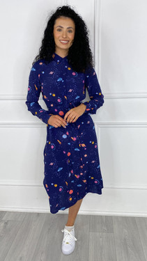 Get That Trend Sugarhill Elspeth Shirt Dress in Navy UFO Space