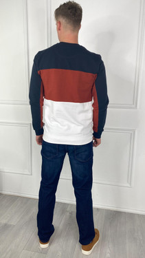 Get That Trend Only and Sons Striped Sweatshirt In Dark Navy