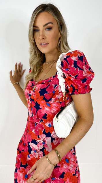 Girl In Mind Hot Pink Floral Sweetheart Midi Dress