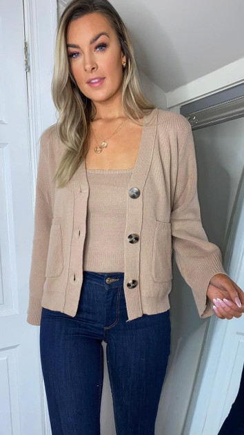 Get That Trend Alya Camel Knitted Cardigan