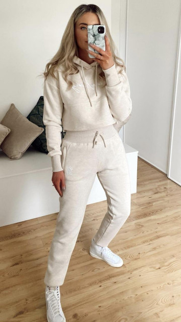 Get That Trend Gym King Elyse Script Jogger In Oatmeal Marl